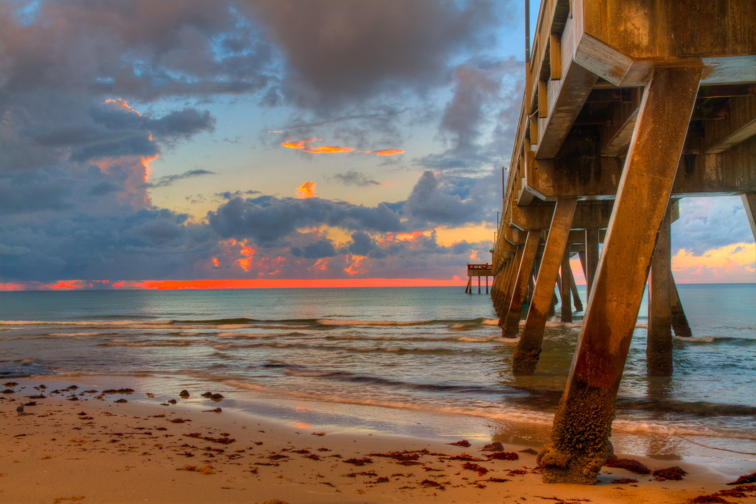 Deerfield Beach Pier at Sunrise in Florida USA